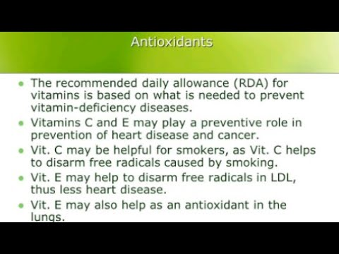 Minimum Recommended Daily Allowance of Antioxidants